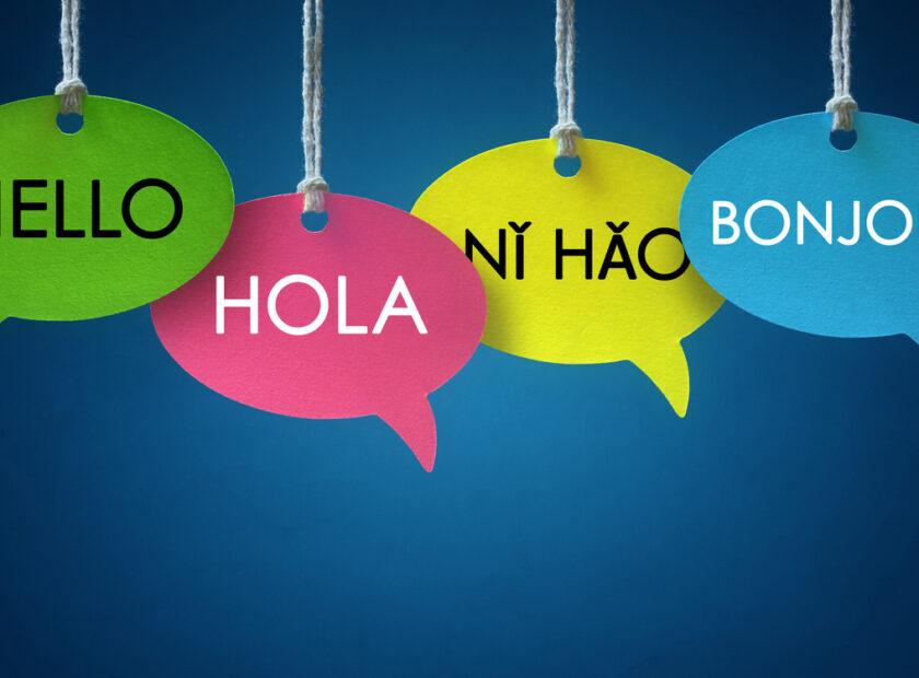 Foreign language communication speech bubbles